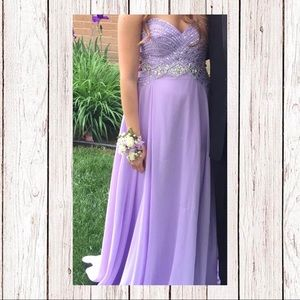 Lavender strapless prom dress by Blush